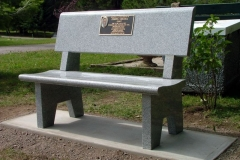 Granite Memorial Bench with Bronze Plaque, provided and installed by Kootenay Monument Installations